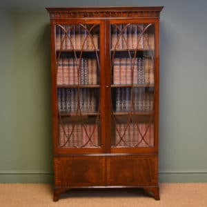 Stunning Edwardian Glazed Mahogany Antique Bookcase on Cupboard