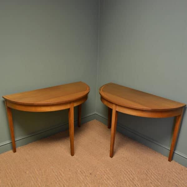 Pair of Antique Edwardian Walnut D End Side / Console Tables
