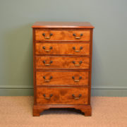 Beautifully Figured Edwardian Mahogany Antique Tall / Slim Chest Of Drawers