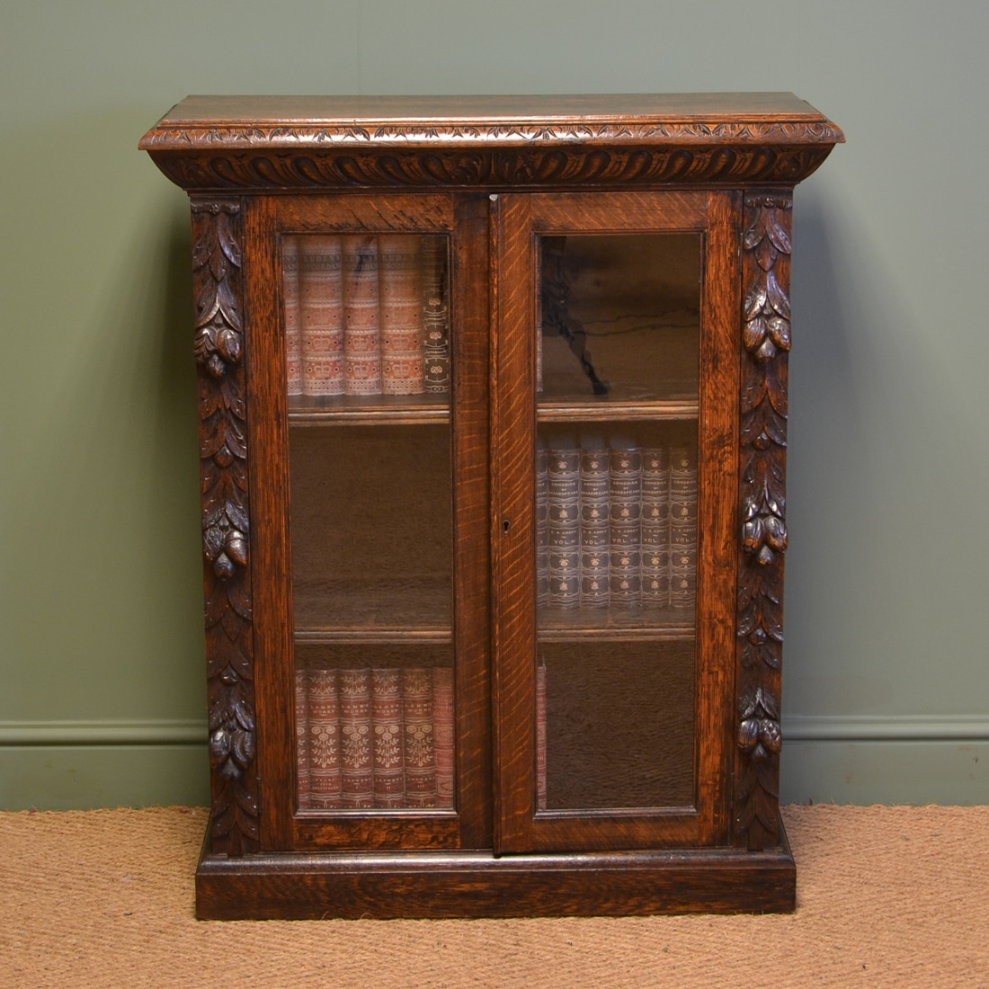 Victorian carved oak antique glazed bookcase antiques world
