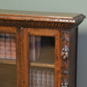 Victorian Carved Oak Antique Glazed Bookcase