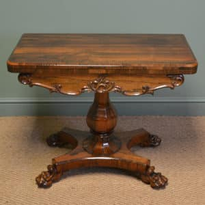 Sensational Figured Rosewood Victorian Antique Card / Games Table