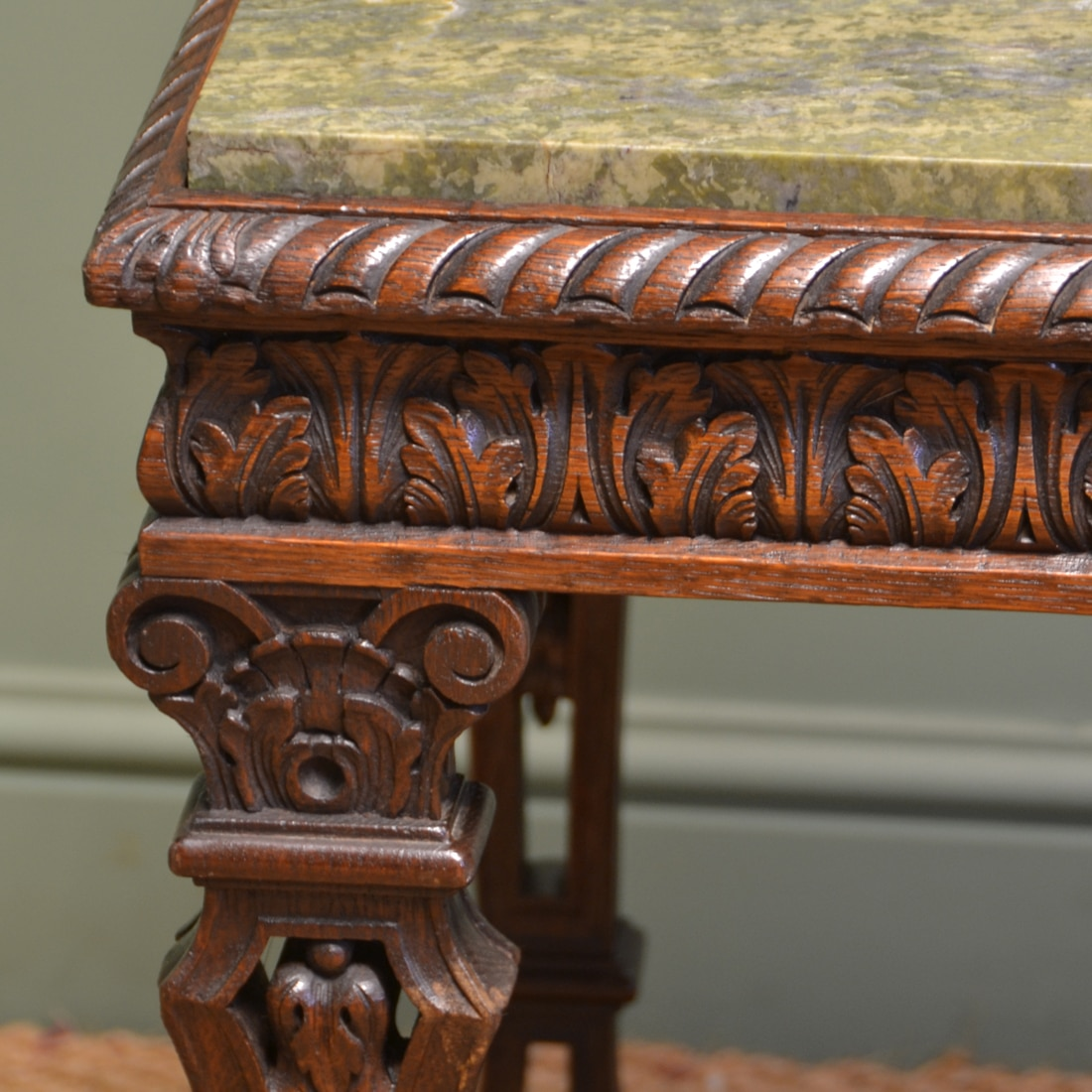 Unique marble top antique victorian carved oak centre
