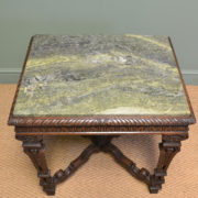 Unique Marble Top Antique Victorian Carved Oak Centre Table