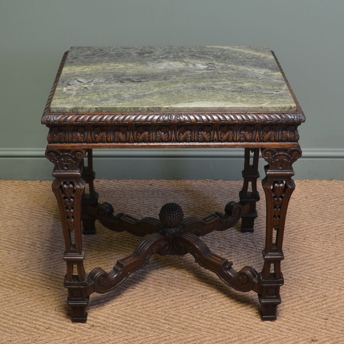 Unique marble top antique victorian carved oak centre for Unusual table tops