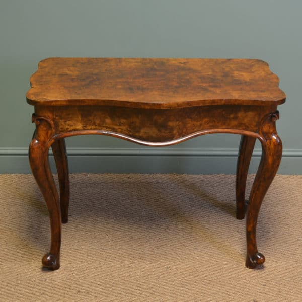Striking Victorian Figured Walnut Antique Side / Console Table