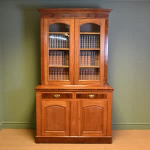 Victorian Mellow Mahogany Antique Bookcase on Cupboard / Dresser