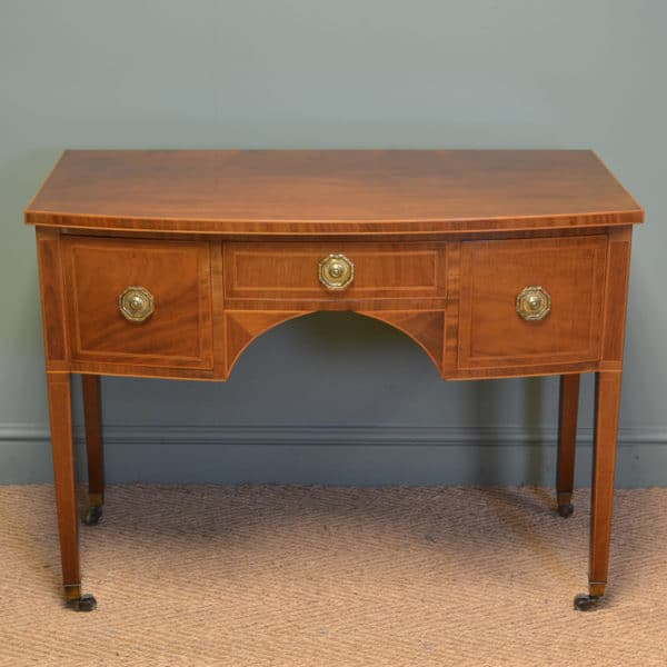 Stunning Victorian Rich Mahogany Bow Fronted Antique Writing / Side Table