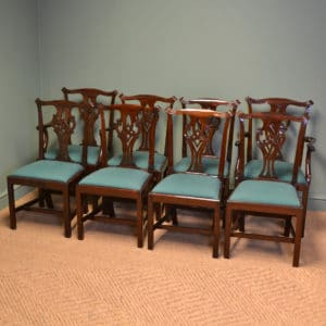 Consisting of two carver arm chairs and six dining chairs, this wonderful set are truly stunning and have been constructed from solid mahogany and date from around 1900.