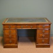 Stunning Victorian Maple And Co Antique Oak Pedestal Desk