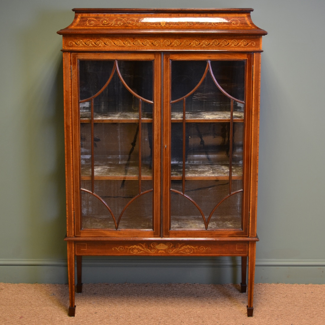 Spectacular Exhibition Quality Maple & Co Inlaid Mahogany Antique Display  Cabinet - Spectacular Exhibition Quality Maple & Co Inlaid Mahogany Antique