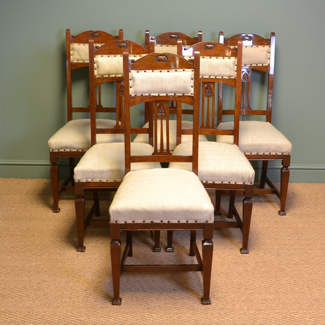 Quality Set of Six Walnut Arts & Crafts Victorian Antique ...