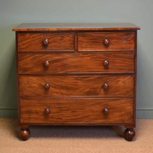 Beautiful Country Figured Mahogany Regency Antique Chest Of Drawers