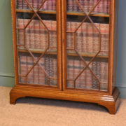 Spectacular Inlaid Astragal Glazed Victorian Antique Bookcase