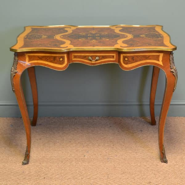 Spectacular Marquetry Inlaid Antique Edwardian Walnut Writing Table