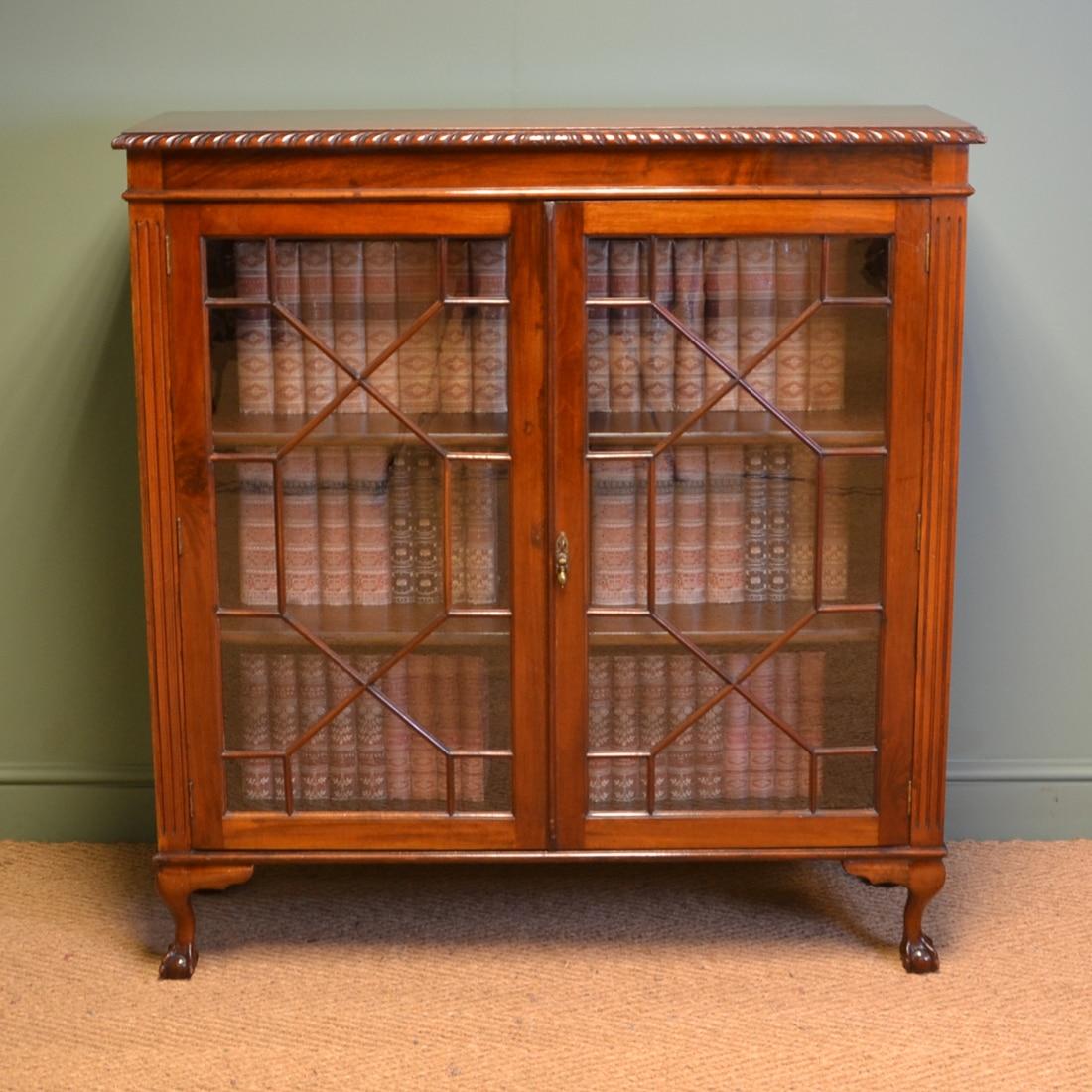 Quality Edwardian Mahogany Antique Glazed Bookcase by S&H Jewell