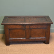 Seventeenth Century Period Panelled Oak Antique Coffer
