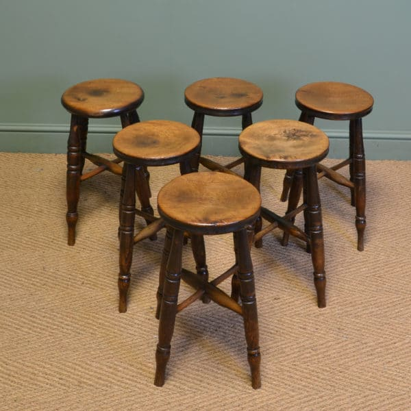 Six Victorian Country Fruitwood Antique Stools