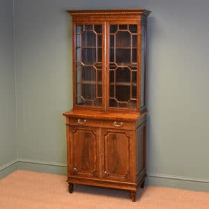 Spectacular Quality Edwardian Inlaid Mahogany Glazed Display Cabinet on Cupboard