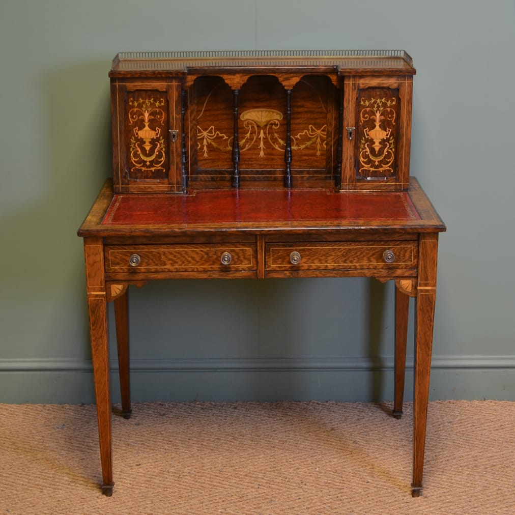 Inlaid Rosewood Victorian Antique Writing Table