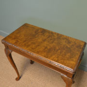 Elegant Figured Walnut Antique Side / Games Table