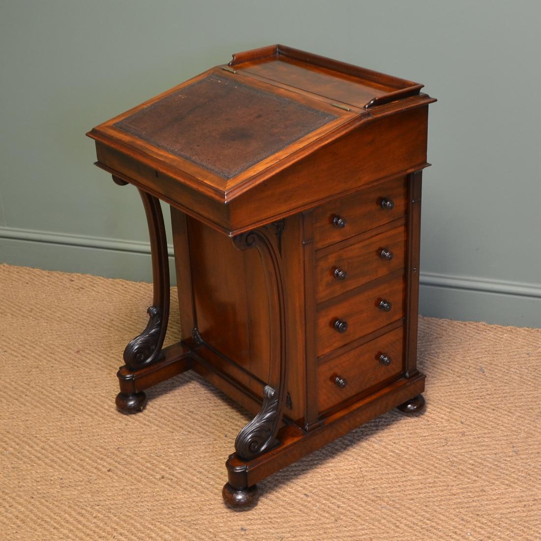 Fine Quality Victorian Mahogany Antique Davenport