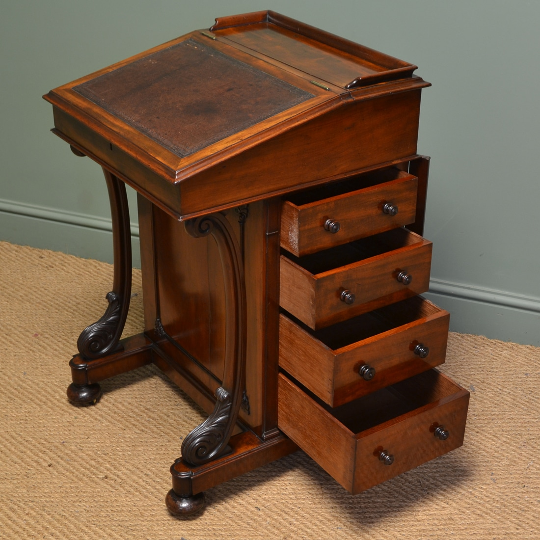Mahogany Writing Desk ~ Fine quality victorian mahogany antique davenport