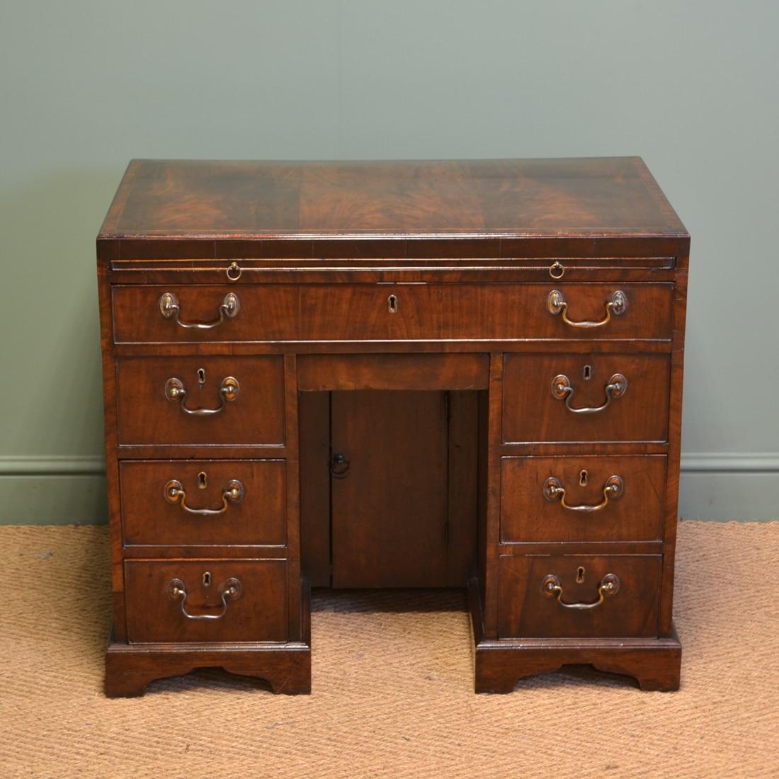 George III Antique Figured Mahogany Antique Desk