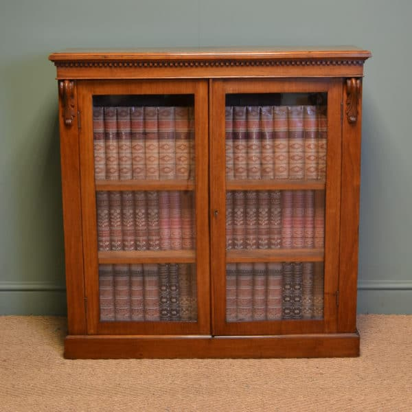 Slim Victorian Walnut Glazed Antique Bookcase