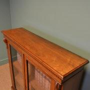 Slim Victorian Walnut Glazed Antique Bookcase