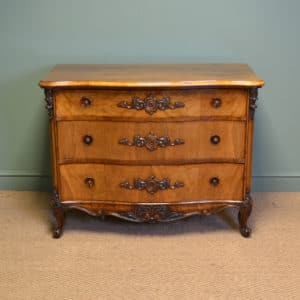 Spectacular Victorian Figured Walnut Serpentine Antique Chest Of Drawers