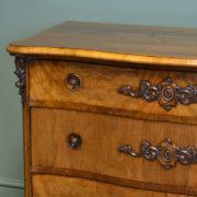Spectacular Victorian Figured Walnut Serpentine Antique Chest Of Drawers