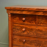 Striking Victorian Figured Flamed Mahogany Antique Scottish Chest Of Drawers