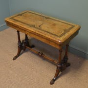 Decorative Figured Golden Walnut Victorian Antique Card / Games Table