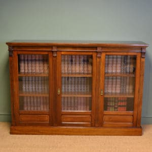 Spectacular Maple & Co Victorian Antique Walnut Three Door Bookcase