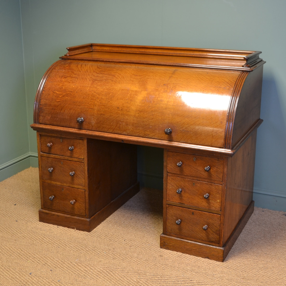 Large Country House Oak Cylindrical Antique Roll Top Desk