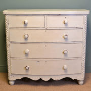 Victorian Bow Fronted Painted Antique Chest Of Drawers