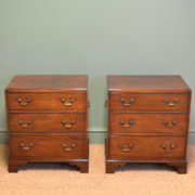 Unusual Pair Of Small Mahogany Antique Bedside Chests