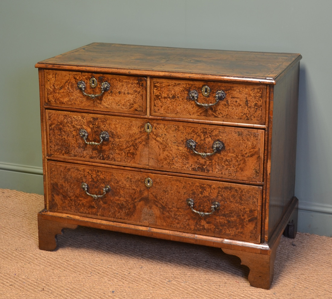 Rare George I Burr Mulberry Antique Chest Of Drawers