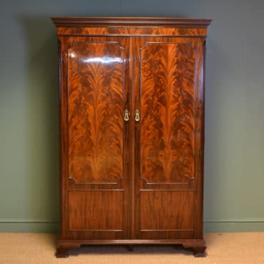 Spectacular Edwardian Waring & Gillows Figured Flamed Mahogany Antique Double Wardrobe