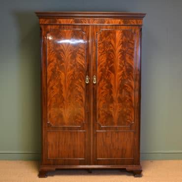 Spectacular Edwardian Waring & Gillows Figured Flamed Mahogany Antique Double Wardrobe