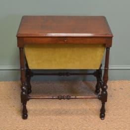 Small Edwardian Mahogany Antique Work Box / Side Table