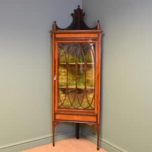 Striking Mahogany and Satinwood Glazed Floor Standing Victorian Antique Corner Cabinet