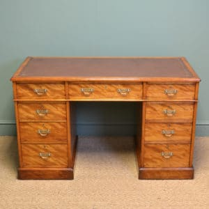 Spectacular Victorian JAS Shoolbred Satin Birch Antique Pedestal Desk