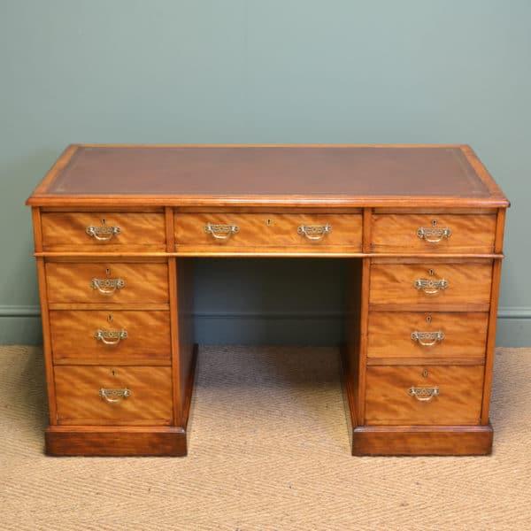 Spectacular Victorian JAS Shoolbred Satin Birch Antique Pedestal Desk