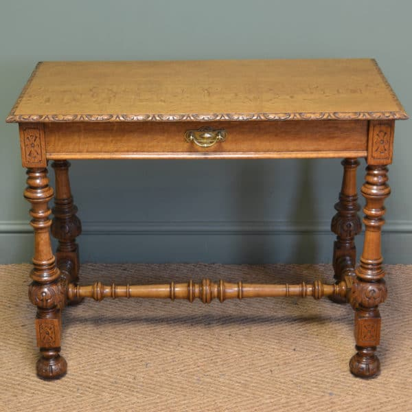 Spectacular Golden Oak Victorian Edwards & Roberts Antique Side Table