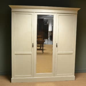 Victorian Painted Country House Antique Triple Wardrobe
