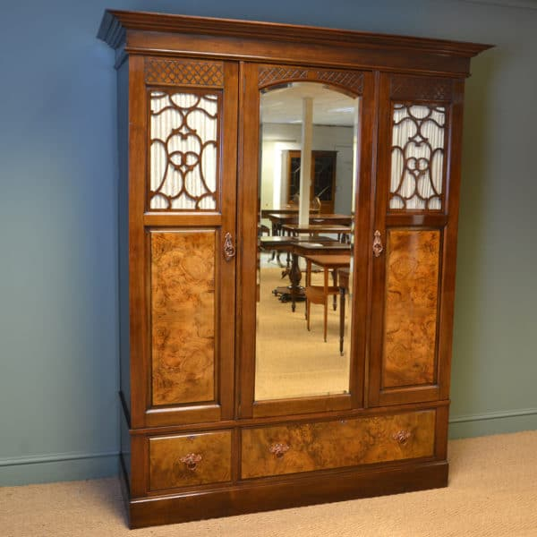 Magnificent Figured Walnut Victorian Antique Triple Wardrobe