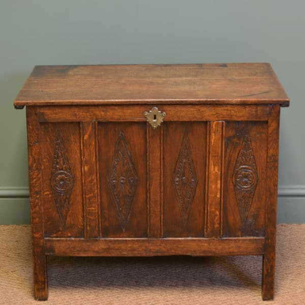 Small Period Oak Country Antique Georgian Coffer