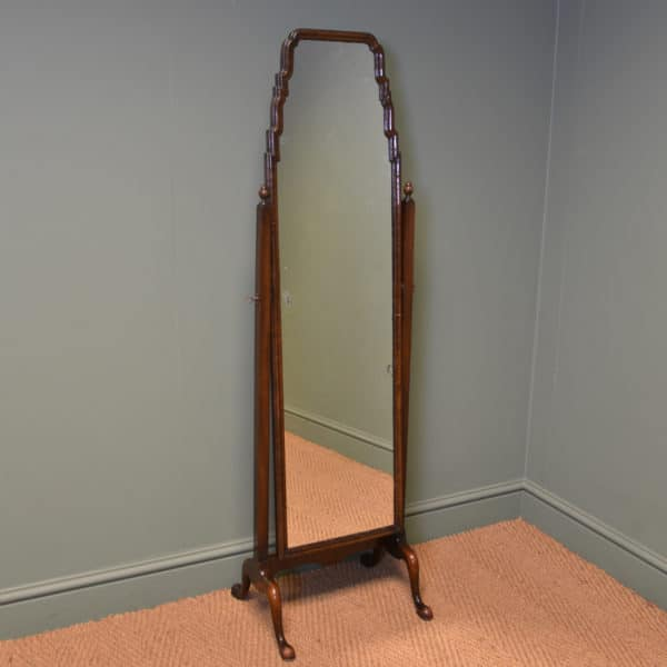 Elegant Antique Art Deco Walnut Cheval Mirror